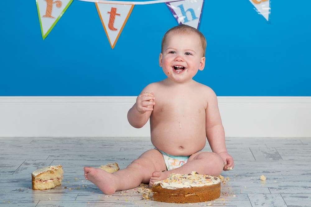 Birthday Cake Smash Portrait of One Year Old in Thame, Oxfordshire