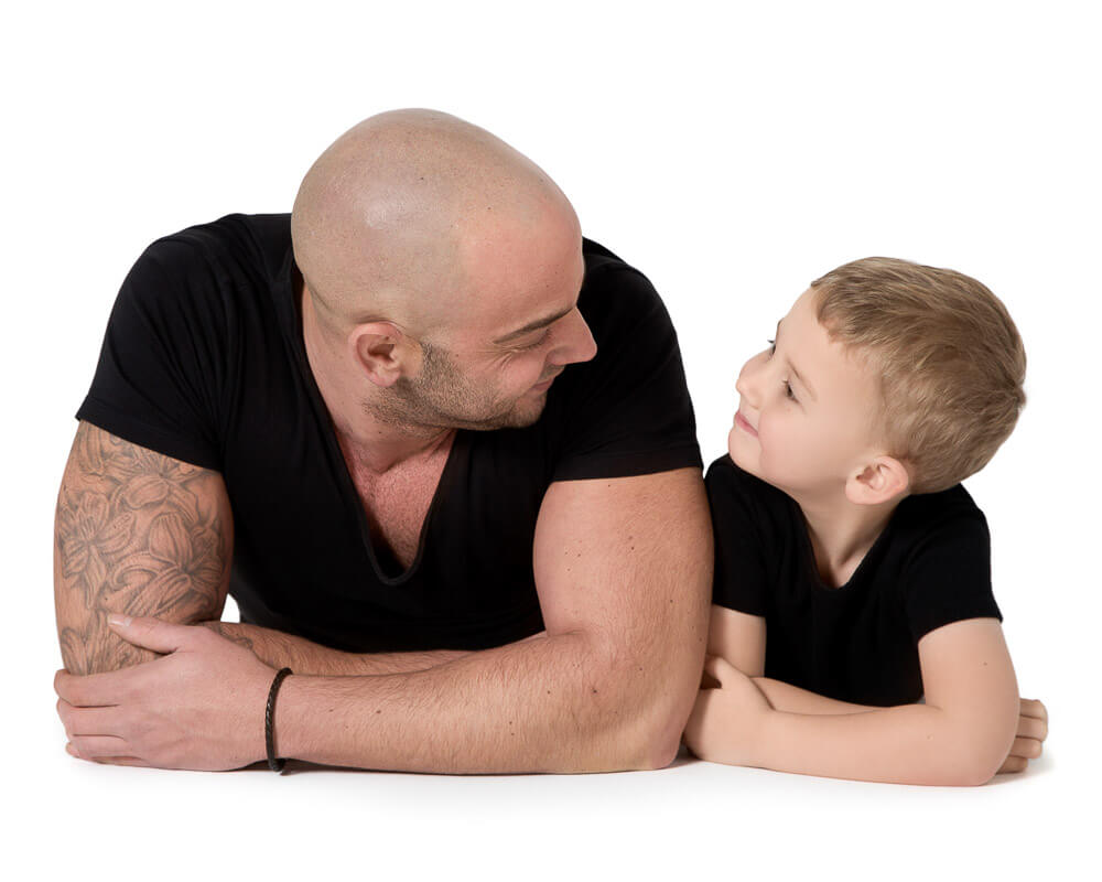 Family Portraits - Dad and his Son on a White Background in Thame, Oxfordshire