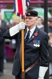 Flag bearer at the High Wycombe Remembrance Parade