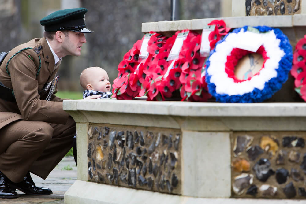 A soldier and his son at the High Wycombe Remembrance Parade
