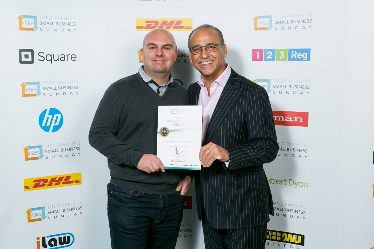 Mark Hewitson of Mark Hewitson Photography, Thame, Oxfordshire at the 2018 SBS event with Theo Paphitis