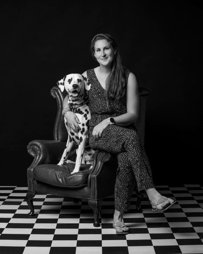 Dalmatian Dog and Owner Studio Portrait by Mark Hewitson of Mark Hewitson Photography, Thame, Oxfordshire